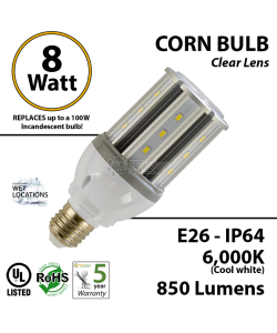 8W LED Corn Bulb Lamp 850Lm 6000K E26 IP64  UL