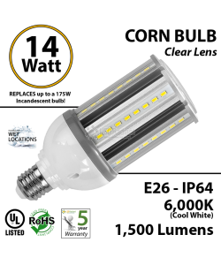 14W LED Corn Bulb Lamp 1500Lm 6000K E26 IP64  UL