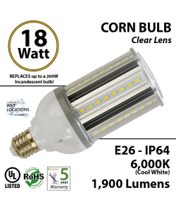 18W LED Corn Bulb Lamp 1900Lm 6000K E26 IP64  UL