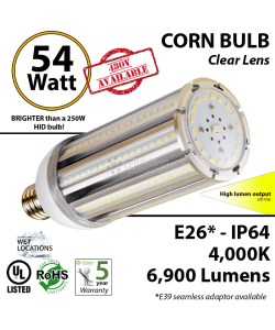 LED Corn Bulb Lamp 54W 6900Lm 4000K E26* IP64  UL
