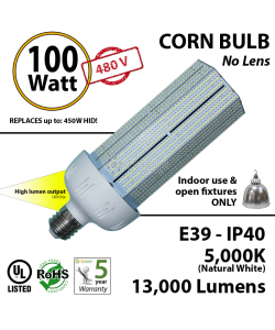 100W, LED Bulb Lamp, 13000Lm, 5000K, IP40, E39, UL.480v
