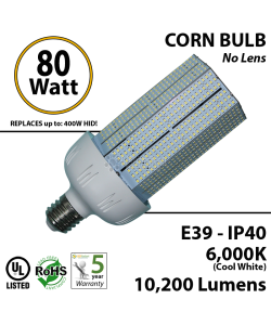 80W LED Bulb Lamp 10200Lm 6000K IP40 E39 UL