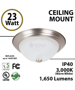 23 Watts LED Bowl Ceiling Mount Fixture Nickel Metal 13 inches