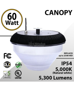 60W Rounded LED Canopy Light Ceiling Mount: 5000K 5300 Lumens UL IP54 DLC