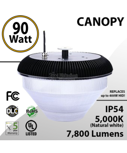 90W Rounded LED Canopy Light Ceiling Mount: 5000K 7800 Lumens UL IP54 DLC