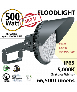 500W LED Stadium Floodlight 480 Volts 66500 lumens