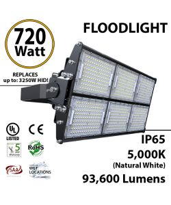 720W LED Floodlight 93600 Lm 5000K IP65 CE SAA UL