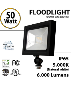 50W LED Floodlight 6000Lm 5000K IP65 UL DLC