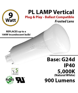 9W PL LED Lamp 900Lm 5000K Frosted Lens G24-d IP40 UL. Ballast compatible