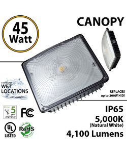 45W LED Canopy Light Ceiling Mount: 5000K UL IP65