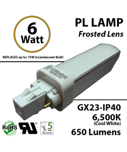 6W PL LED Bulb lamp 650Lm 6500K Frosted Lens GX23 IP40 UL. Direct Line (Remove Ballast)