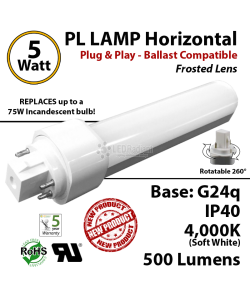 5W PL LED Lamp 500Lm 4000K Frosted Lens G24q IP40 UL. Ballast compatible
