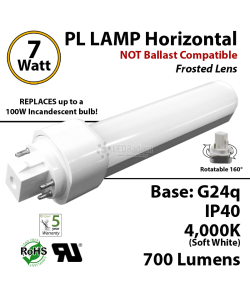 7W, PL LED Bulb lamp 700Lm 4000K Frosted Lens G24q IP40 UL.  Direct Line (Remove Ballast)