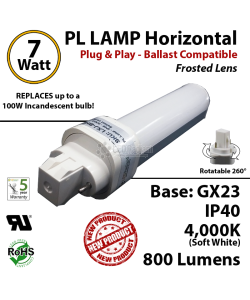 7W PL LED lamp 800Lm 4000K Frosted Ballast compatible GX23 IP40 UL.