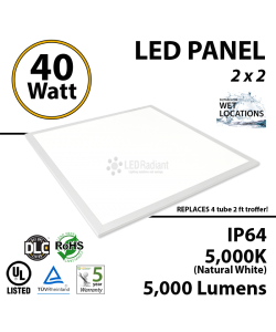 40W LED Panel 2 x 2 5000 Lumens 5000K IP64 UL DLC