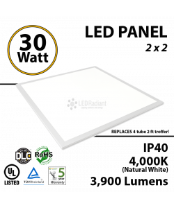 30W LED Panel 2' x 2' 3900 Lumens 4000K Dimmable IP64 UL DLC