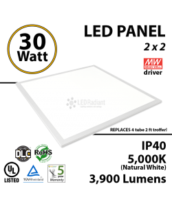 30W LED Panel 2' x 2' 3900 Lumens 5000K Dimmable IP64 UL DLC