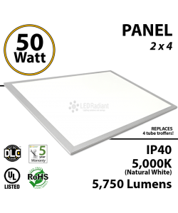 50W LED Panel 2 x 4 5750 Lumens 5000K IP40 UL