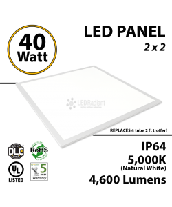 40W LED Panel 2 x 2 4600Lm 5000K IP64 UL DLC