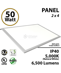 50W LED Panel 2 x 4 6500Lm 5000K IP40 UL.
