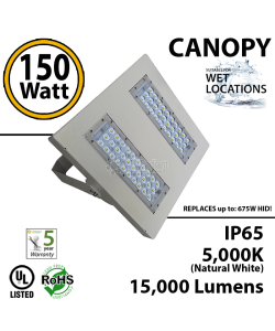700w Equivalent 150w LED gas station fixture 15000 Lumens 6000K