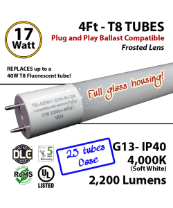 17 W LED T8 Glass Tube Light Frosted Lens 2200 Lumens 4000K Plug And Play UL DLC (1 case, 25 tubes)