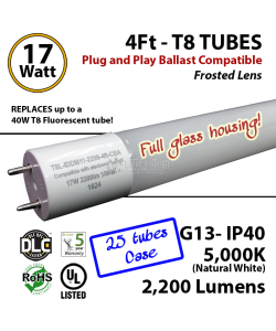 17 W LED T8 Glass Tube Light Frosted Lens 2200 Lumens 5000K Plug And Play UL DLC (1 case, 25 tubes)