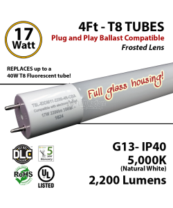 17 W LED T8 Glass Tube Light Frosted Lens 2200 Lumens 5000K Plug And Play UL DLC
