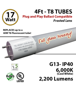17 W LED T8 Glass Tube Light Frosted Lens2200 Lumens 6000K Plug And Play UL DLC