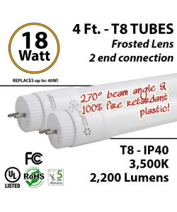 18 watts led tube replace fluorescent frosted lens