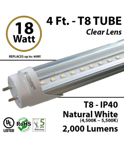 4 Ft 18 Watt Natural White Clear Single end powered T8 LED Fluorescent Light Tube Replacement feet