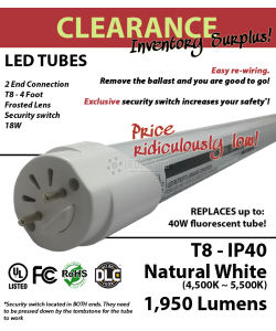 18W  4Ft, LED T8 Tube, 1950Lm, 5000K, Frosted, 2 end connection, IP40, UL&DLC