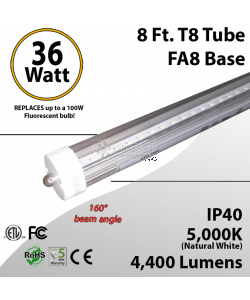 8 Ft LED tube clear lens 5000K 4400 lumens ETL