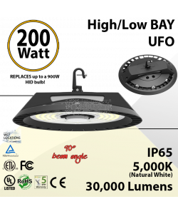 200W LED High Bay UFO 30000LM 5000K Dimmable Motion Sensor