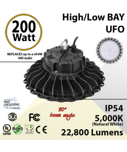 200W LED High Bay Light UFO 22800 Lumens 5000K UL DLC