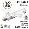10W PL LED Bulb lamp 1000Lm 2700K Edison IP40 UL. Direct Line (Remove Ballast)