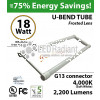 18W U-bend LED GLASS Tube 4000K Frosted By-pass ballast UL 2200 Lumens