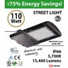 110w LED Street pole lamp Fixture 500 Watt HID Equivalent 120V