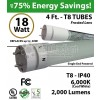 18w 4ft LED T8 Tube Light 2000Lm 6000K Frosted Single End Power
