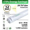 12W LED Tube-1 sd-2ft-PC+AL  4000K 1450 Lm Non-Dimmable Frosted