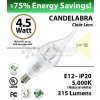 Candelabra 4.5W Flame Shape 5000K 315 Lm E12 NOT dimmable Clear