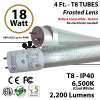 18w 4ft LED Tube Light 2200Lm T8 6500K Frosted Ballast Compatible Hybrid