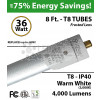 8Ft LED Tubes 36W T8 4000 Lumens 3000K Frosted IP 40 8 Footer