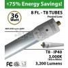 8Ft LED Tubes 36W T8 3200Lm 3000K Frosted IP40 Fluorescent replacement
