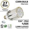 27 Watt LED Corn Bulb Lamp light 6000K E26* HID Replacement Metal Halide IP64 Edison Retrofit UL