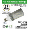 27W LED 180° Semi-Corn bulb 5000K  3400 Lumen E26* IP64 UL
