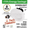8W LED Downlight Dimmable 600Lm 4000K E26 IP40 2PACK