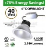 40W LED 6 inch Downlight Arquitectural Retrofit 2980Lm Dimmable 4000K
