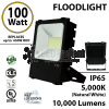 100 Watt LED floodlight 10000Lm 450w Equivalent 5000K DLC UL