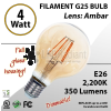 4W LED Filament Bulb 2200K Antique Vintage Amber 350 Lm E26 dimmable
